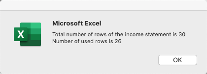 Total number of rows of the income statement is 30 Number of used rows is 26