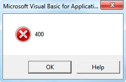 error 400 in VBA