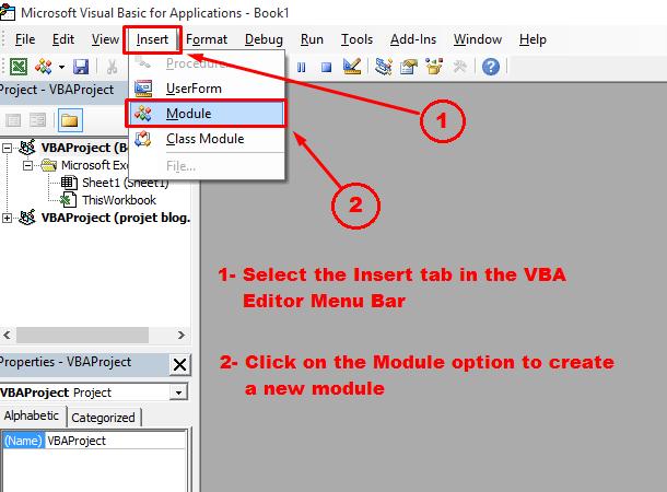 Insert module into VBA editor