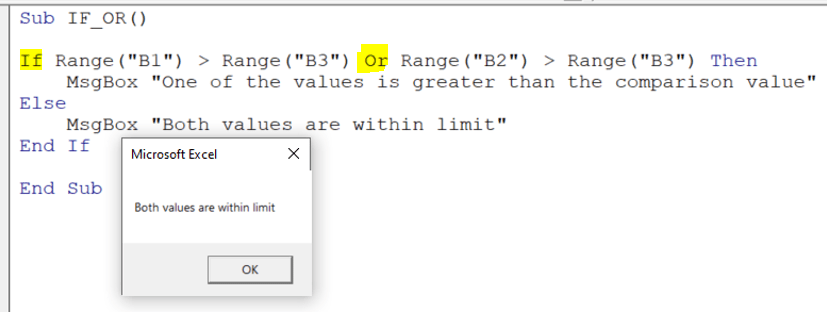 Message: Both values are within limit
