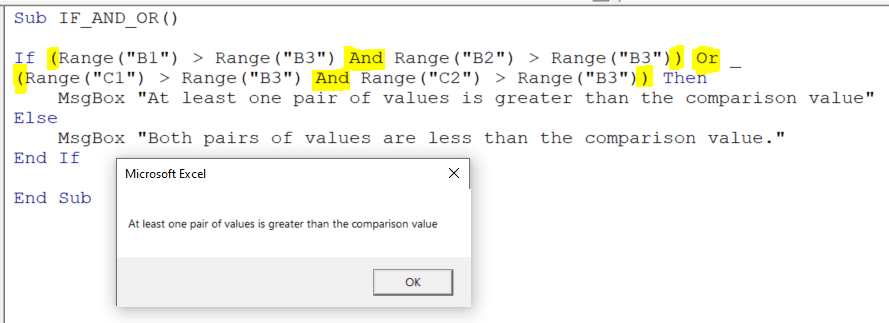 At least one pair of values is greater than the comparison value