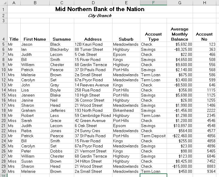 A sample spreadsheet of bank accounts and balances