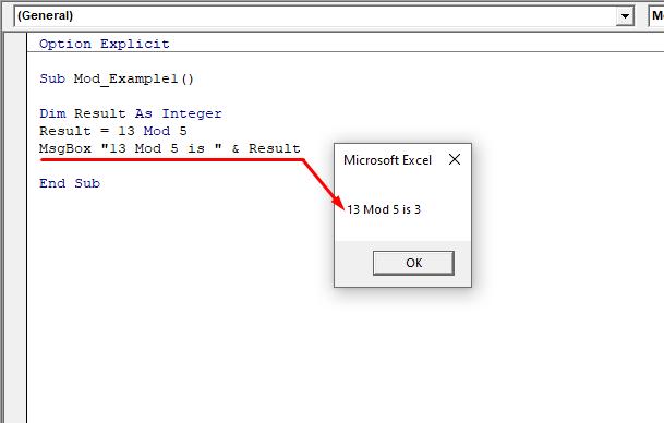 Messagebox saying 13 Mod 5 is 3