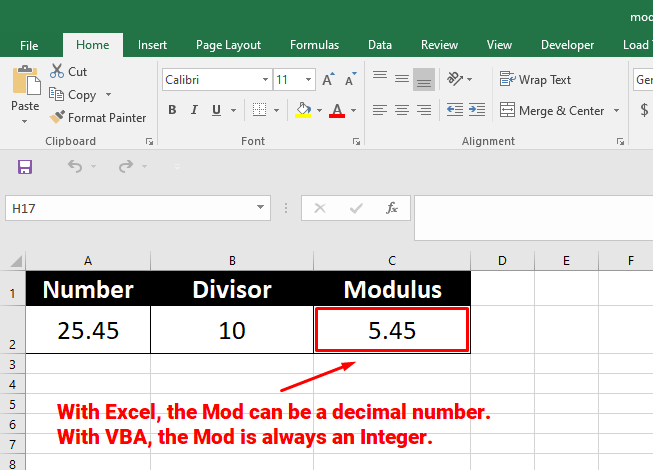 Modulus is 5.45 with Excel