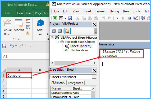 Display value of a cell in immediate window
