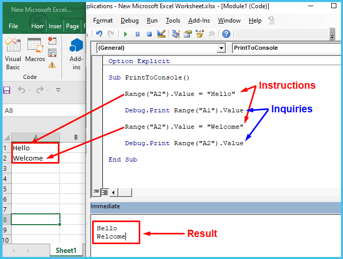 Print multiple lines to the VBA console