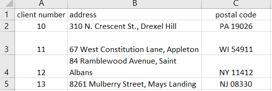 Excel table showing client number, address, and postal code