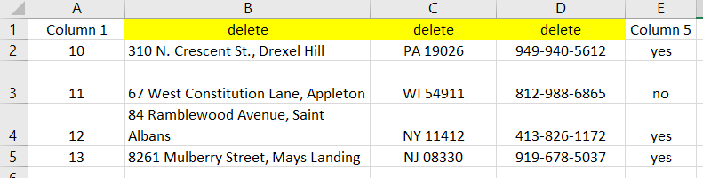 Three columns in a row in Excel are highlighted to delete