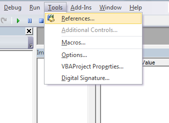 Select references from the tools menu