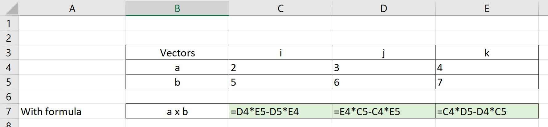 Example 1 Excel setup