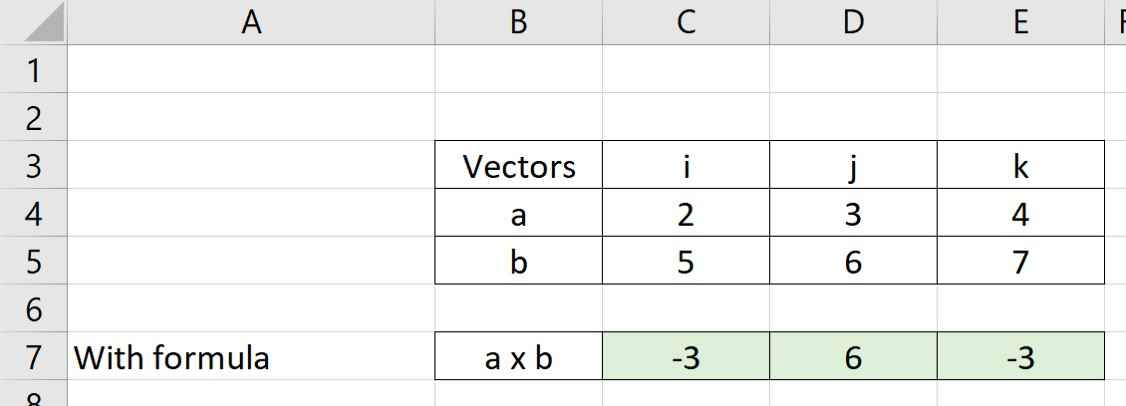 Cross product results in Ecel