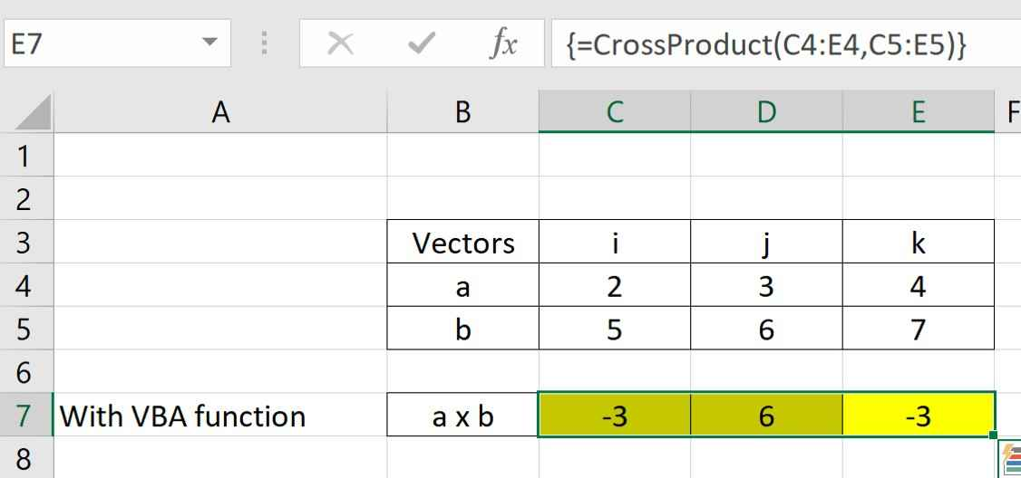 VBA cross product function being used as input in Excel