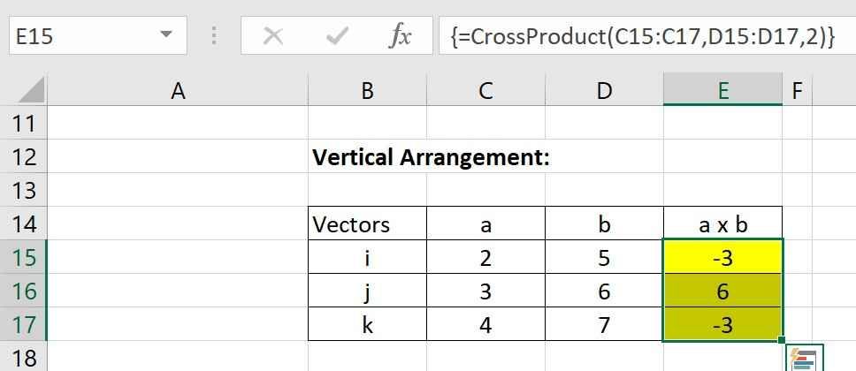 Setting the orientation of the cross product via the custom vba function parameter