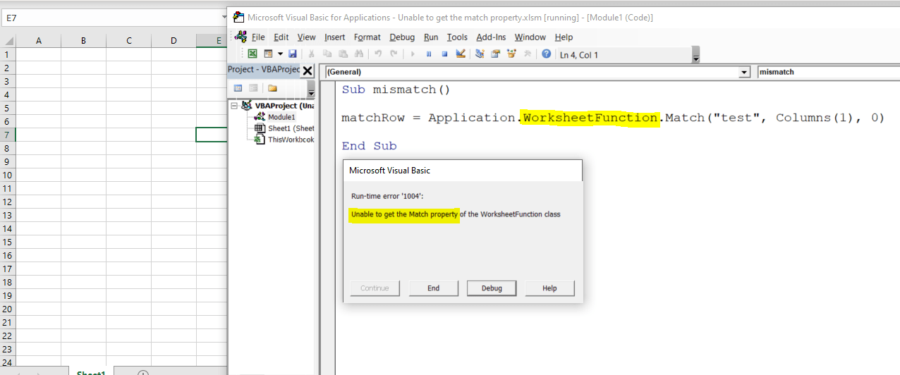 Unable to get the Match property of the WorksheetFunction class