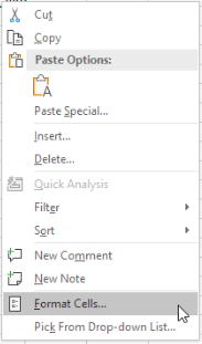 Excel context menu with format cells highlighted