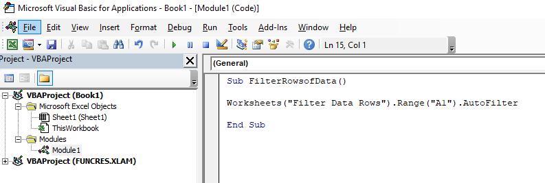Code to autofilter columns