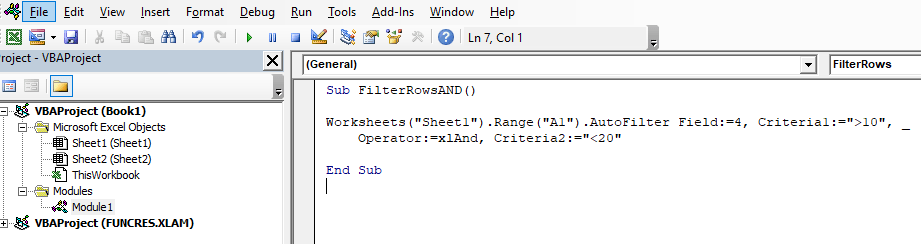 Code to filter between 10 and 20