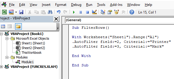 Code to filter by the name mark and product printer