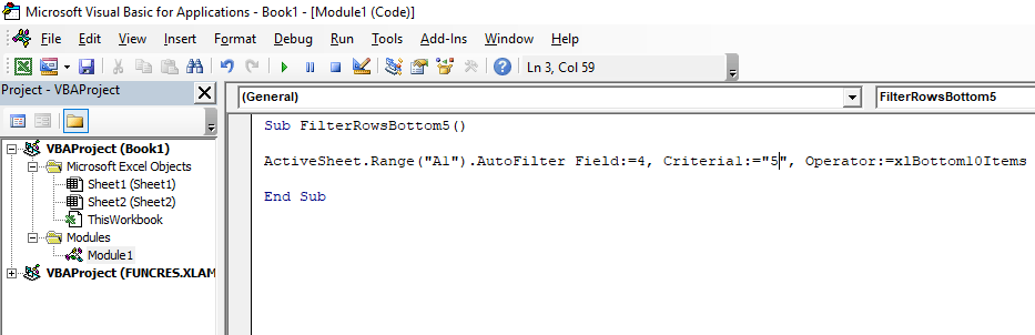 Code to filter out bottom 10 items