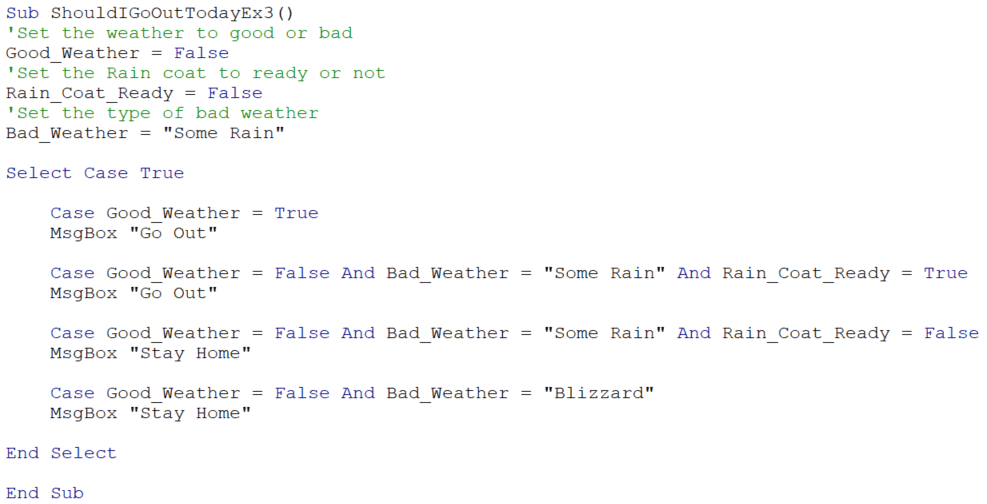 Select case sample code