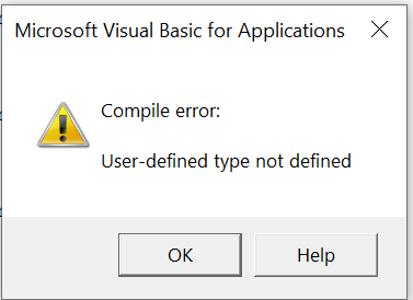 Compile error: User-defined type not defined