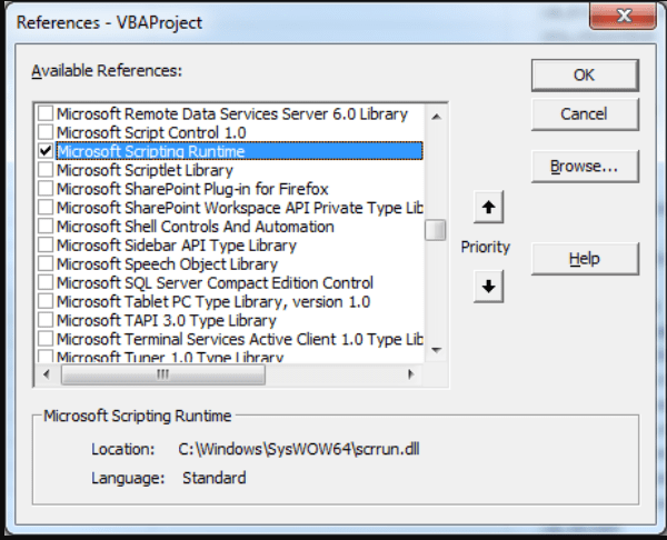 Adding a reference to Microsoft Scripting Runtime