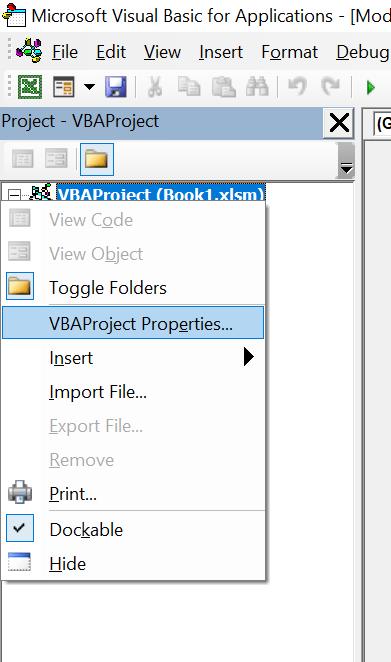 project context menu