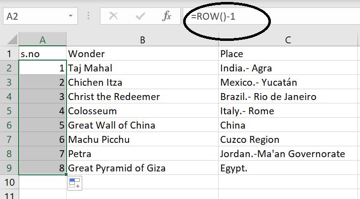 Using the Row()-1 formula