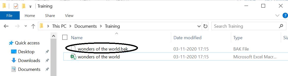 Creating a .bak file in the file explorer