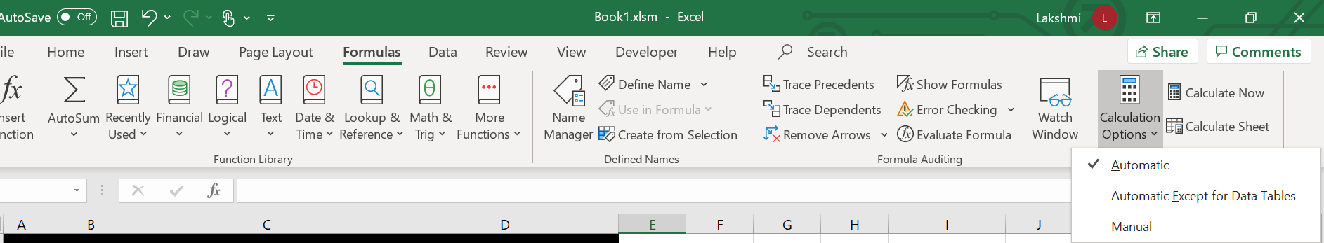 Caclulation options in the formula menu of Excel