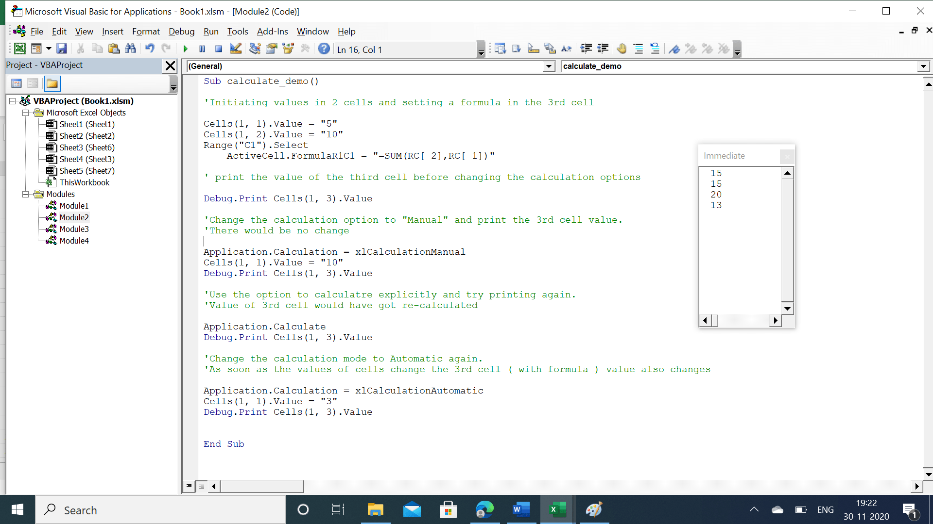 Immediate window showing differences in calculation