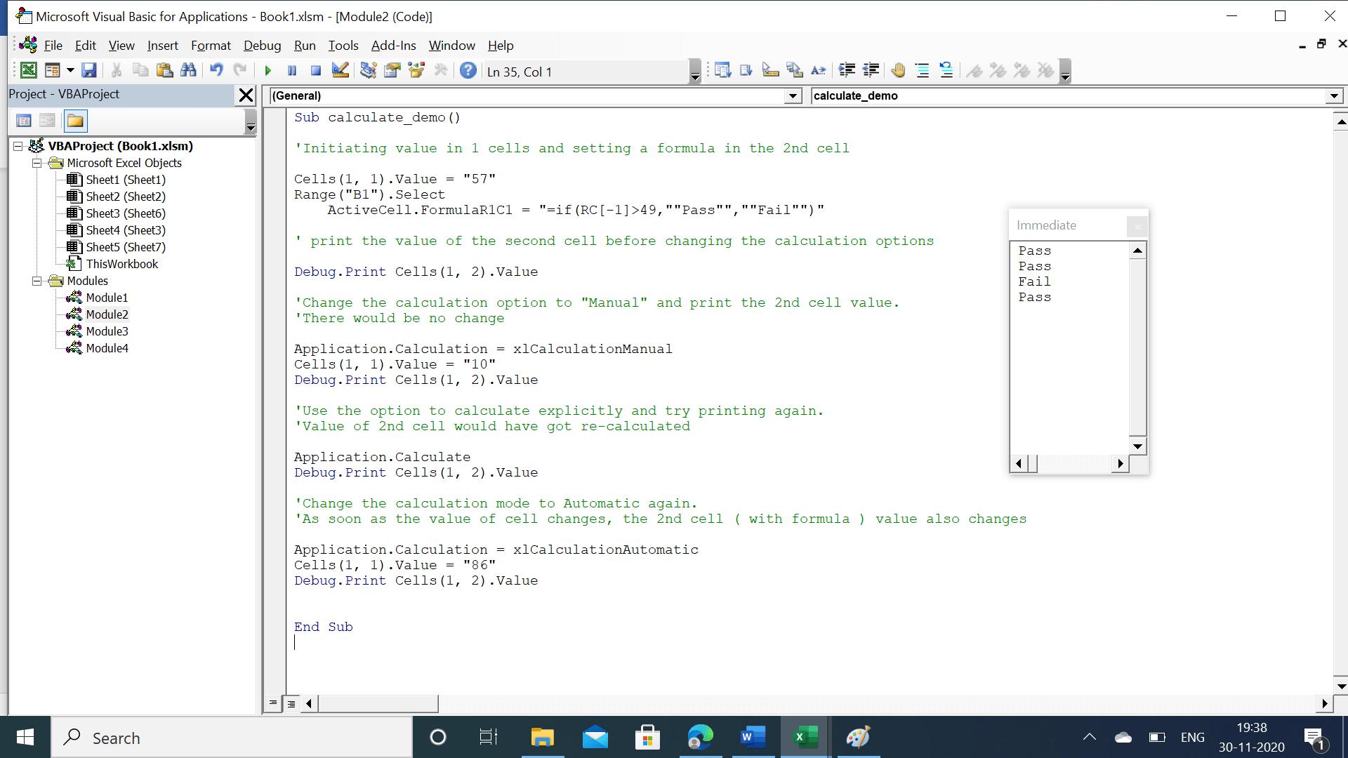 Immediate window showing pass/fail grades
