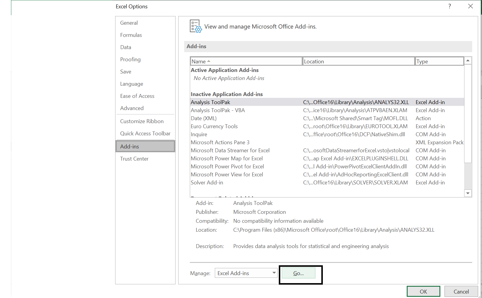 Analysis toolpak is marked inactive