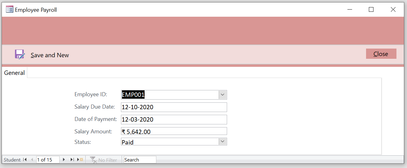 An employee payroll form ready for entry