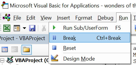 Finding break mode in the VBA editor menu