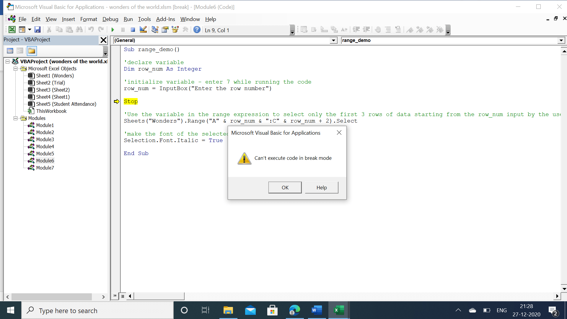 Can't execute code in break mode (editor in break mode)