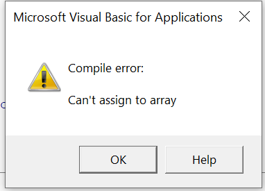Compile error: Can't assign to array