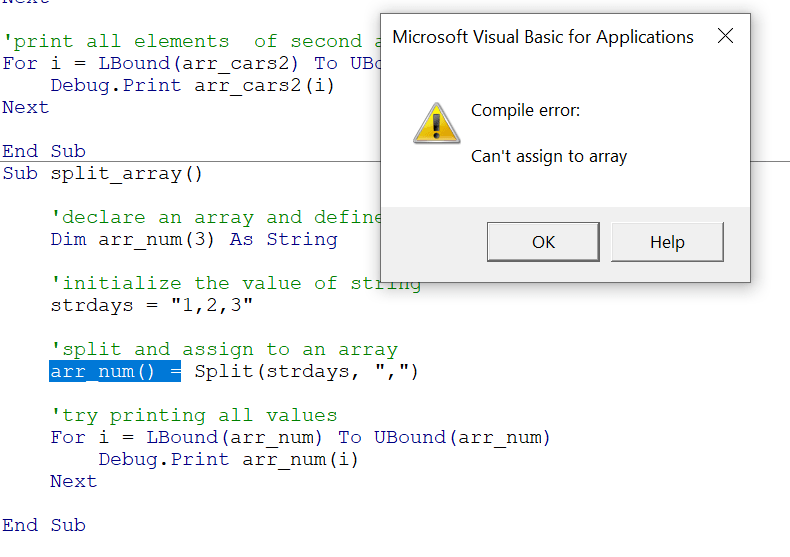 Compile error: Can't assign to array -- occurs because array size is set to 3