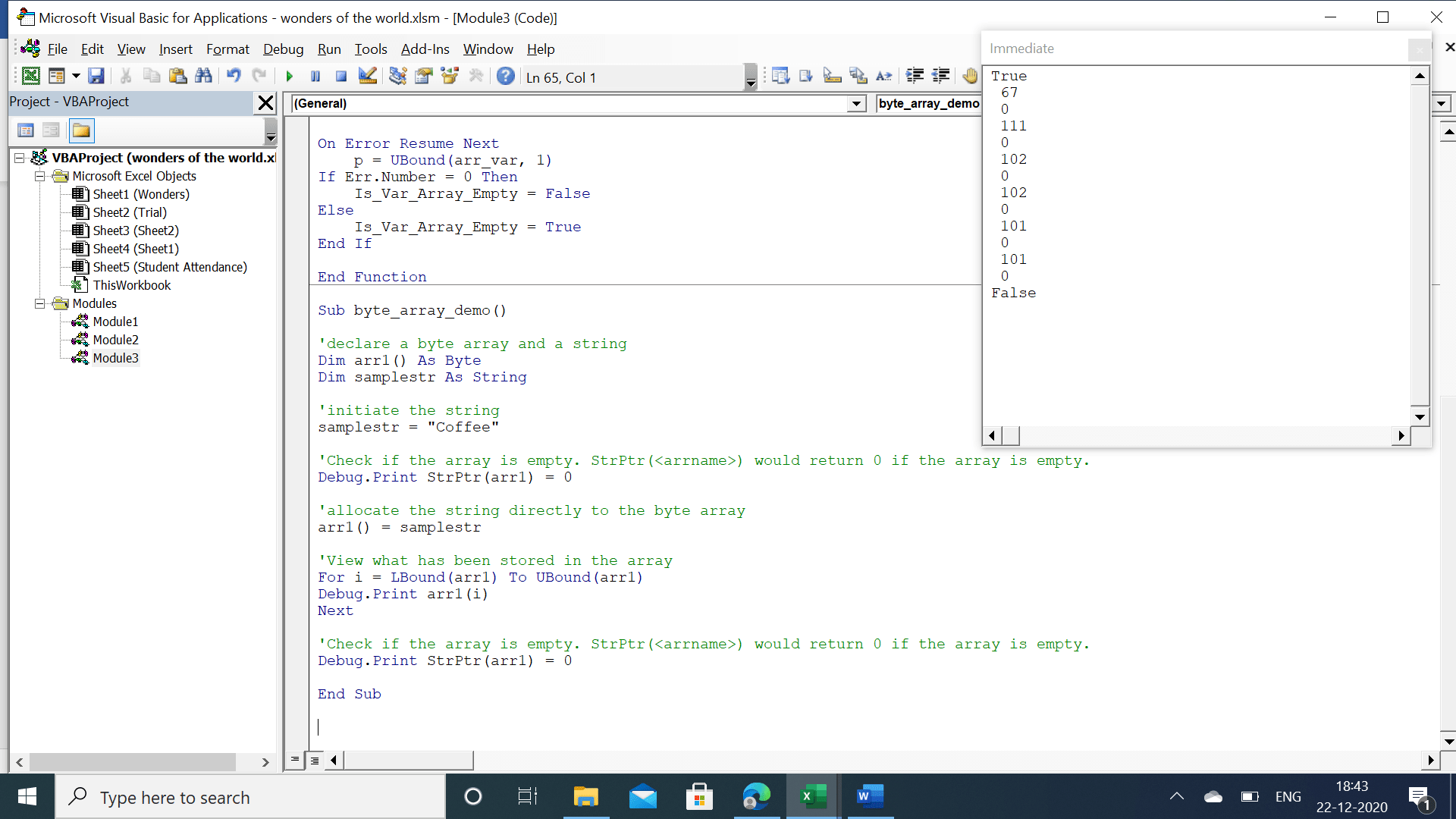 Results from checking array using strptr function.