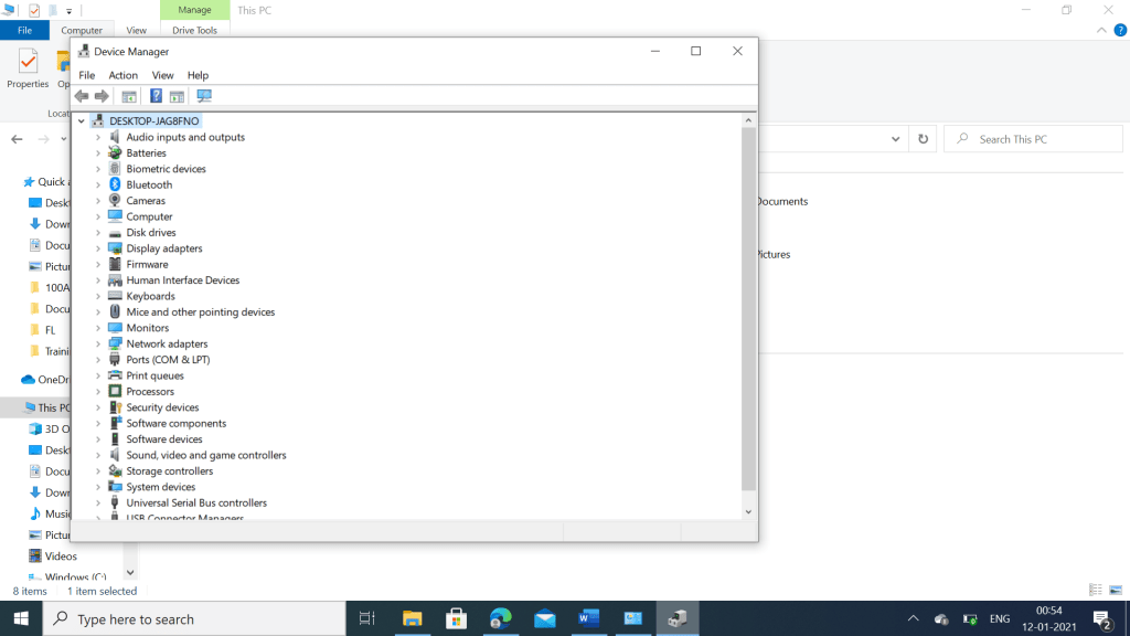 Device manager in Windows