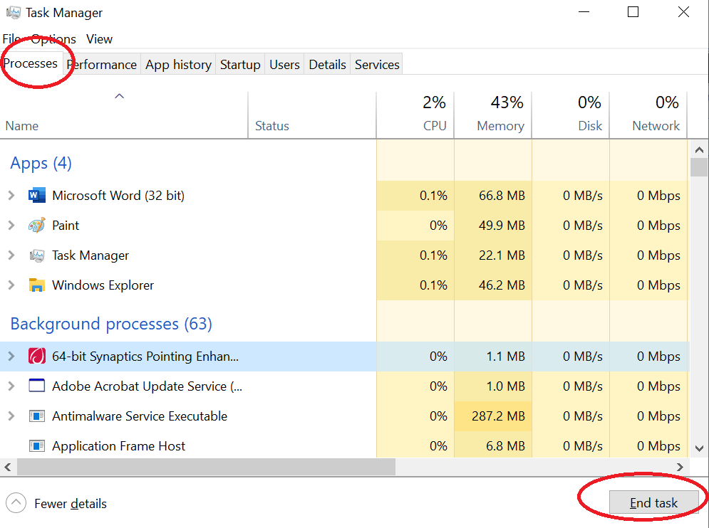 End a task in the windows task manager