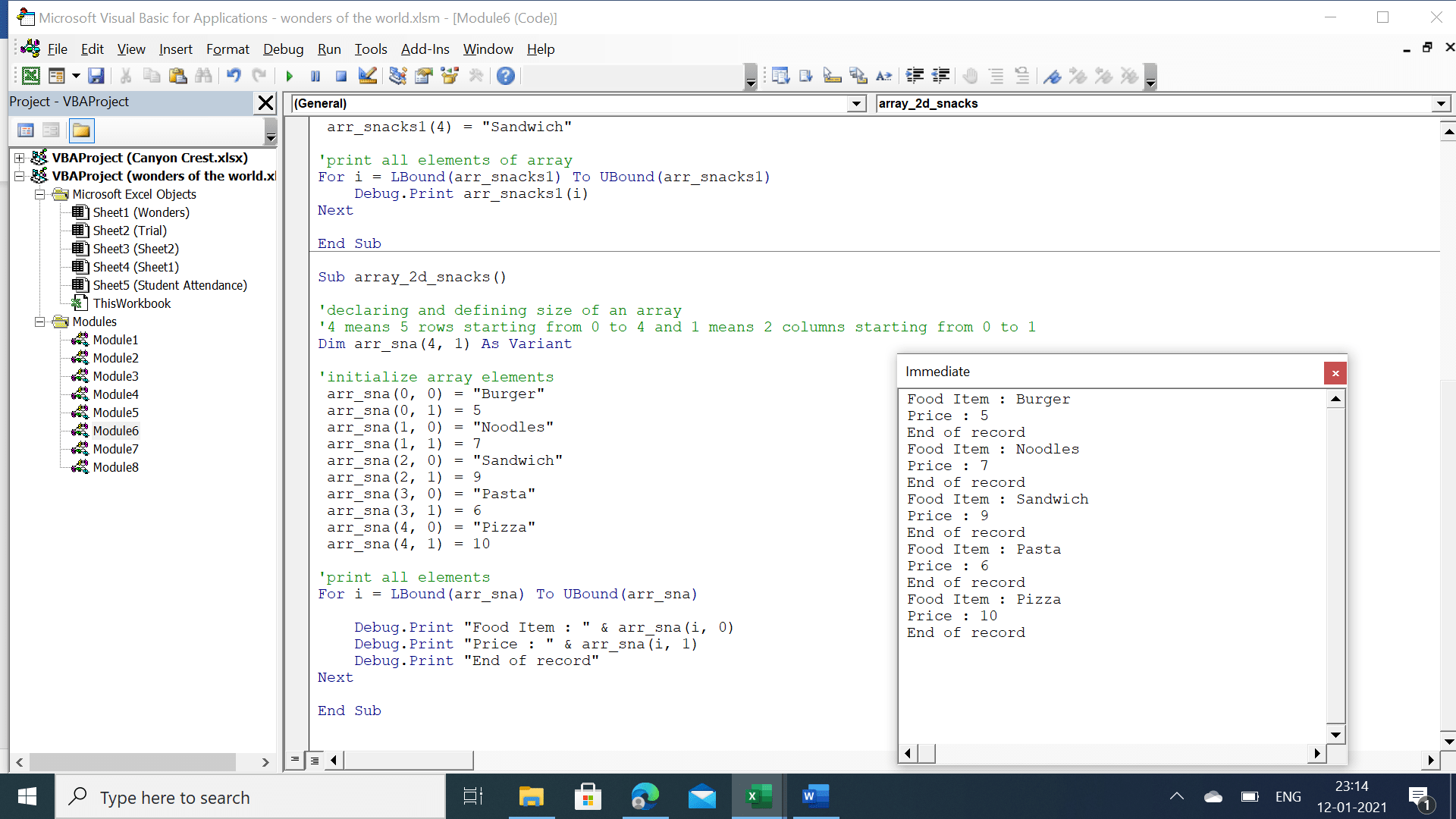 Output of 2 dimensional array