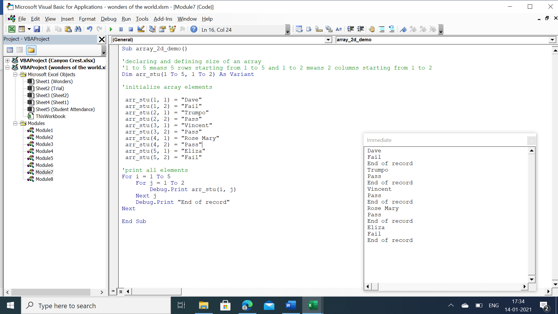 Nested for loop output