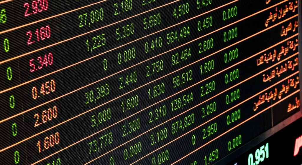 Currencies and numbers being displayed on a board