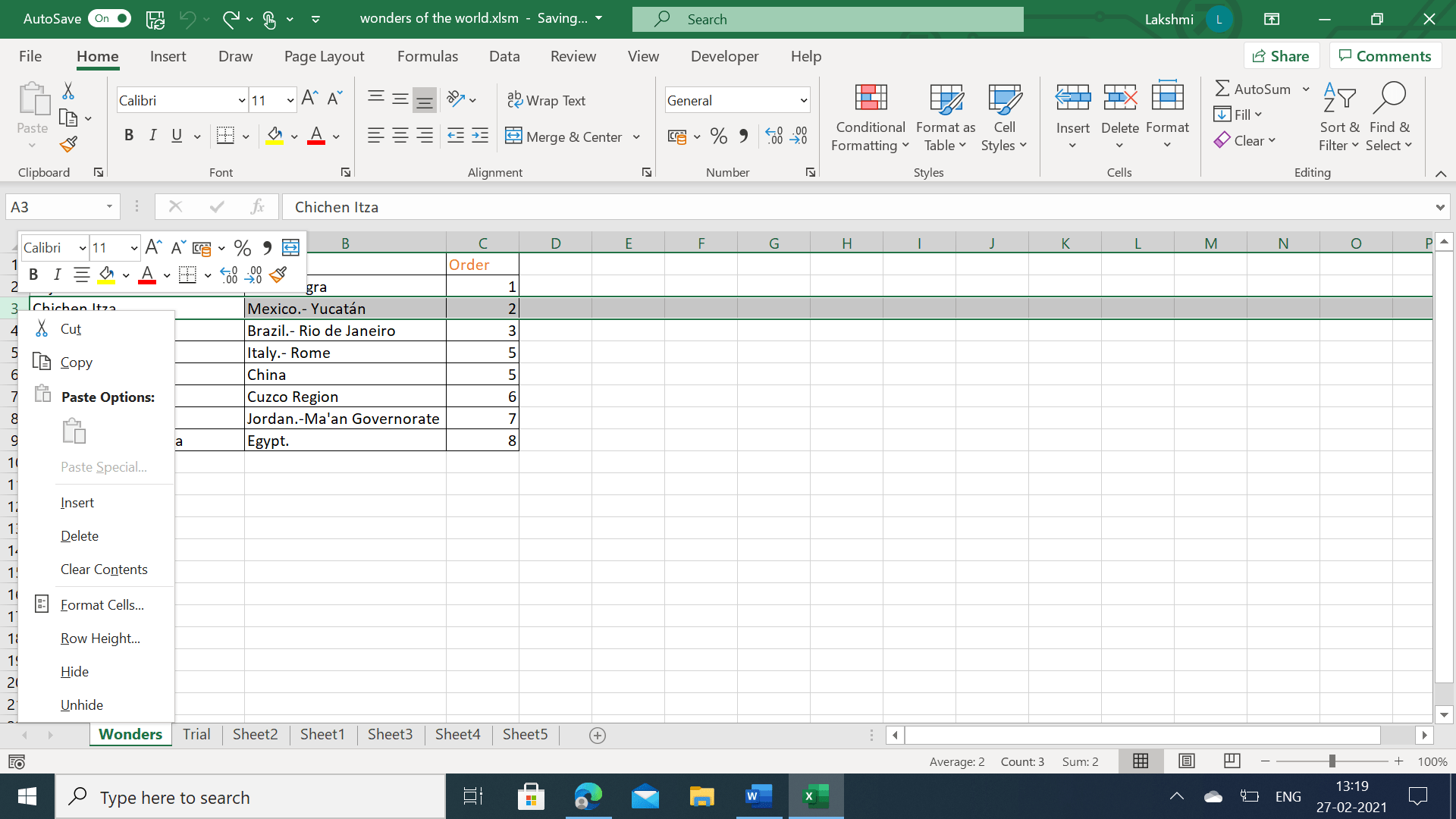 Manually delete row in Excel