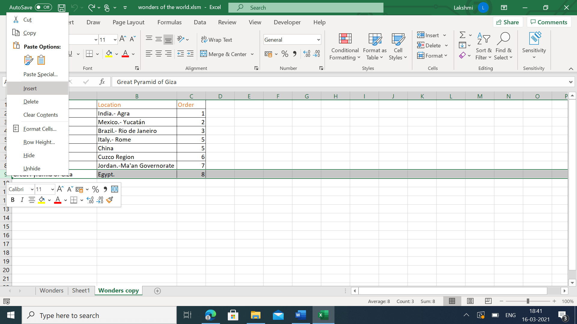 Selecting insert from the context menu in Excel