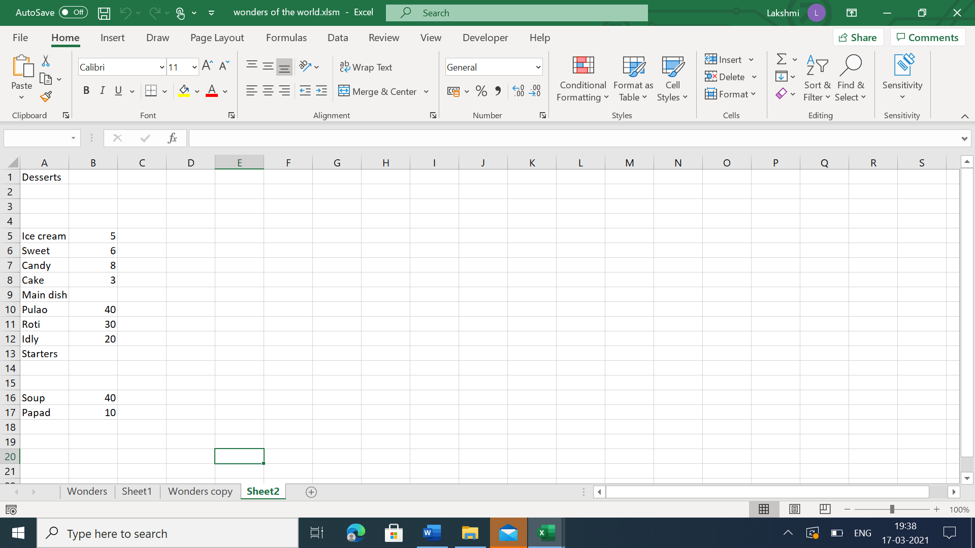 Additional empty rows inserted into list of foods