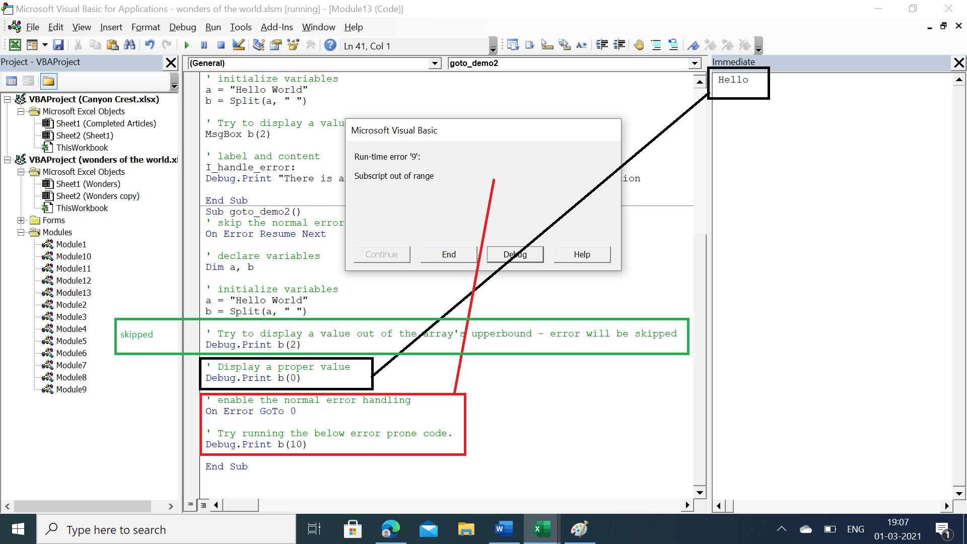 Run-time error '9': Subscript out of range error popup.
