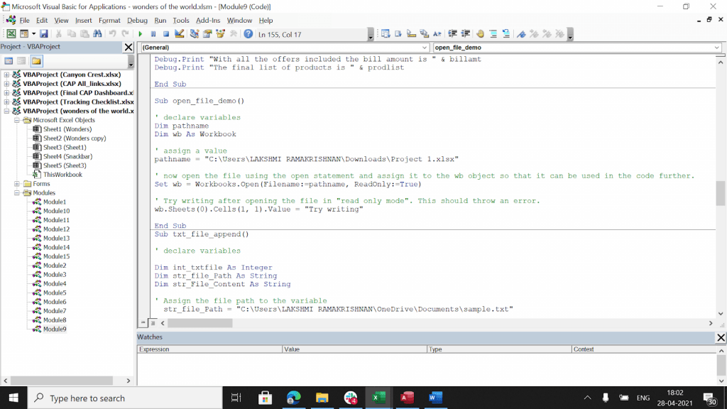 Example of how to set a file as an object in VBA