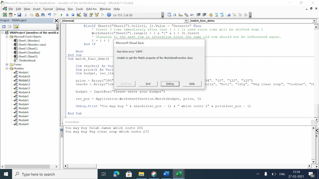 Error image if budget does not match any value in the array.